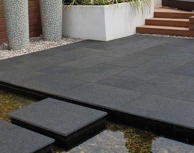 midnight granite grey tiles and pavers, black tiles, black pavers, dark tiles, outdoor tiles, outdoor pavers by stone pavers,