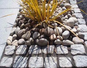 Dove white granite cobblestone pavers