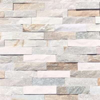 White stack stone wall cladding feature wall