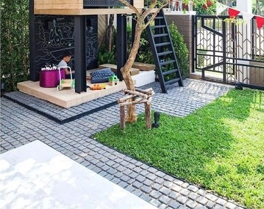 raven exfoliared grey cobblestone tiles and pavers patio