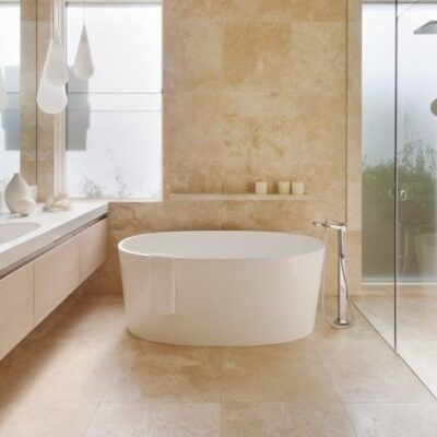 Ivory Travertine tiles indoor filled honed wall