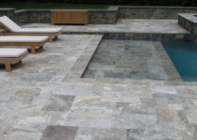 Silver travertine pool pavers and tiles