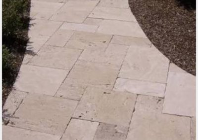 travertine french pattern pathway