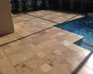 Noce Travertine Drop Face Pool Coping Tiles, dark tiles, brown tiles, ochre tiles, stone pavers australia