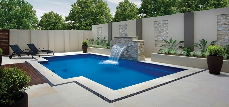 Golden mint pool coping and pavers