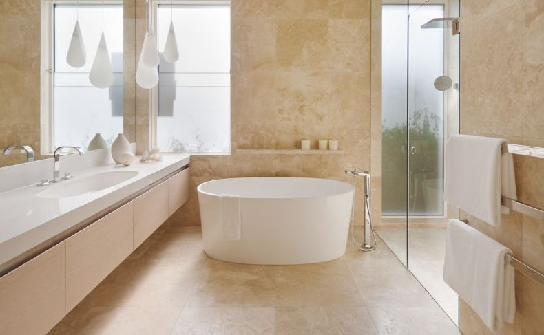 Travertine Tiles in a bathroom