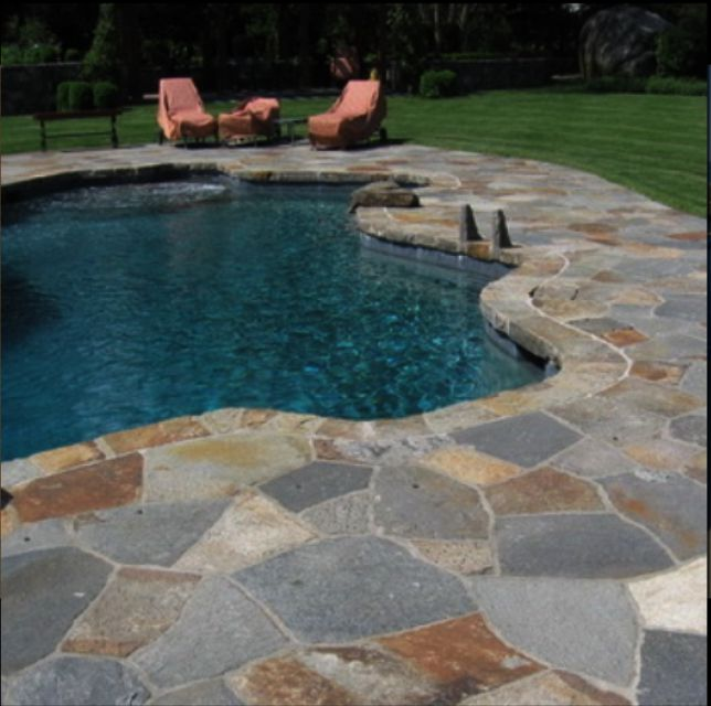Kakadu crazy paving pool pavers and pool coping for Natural stone around pool