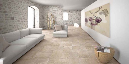 Travertine floor and wall tiles