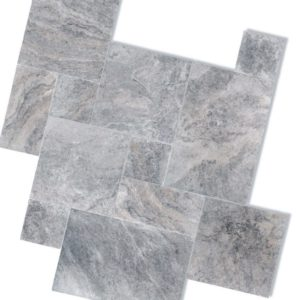 Silver Travertine French Pattern Tumbled Unfilled