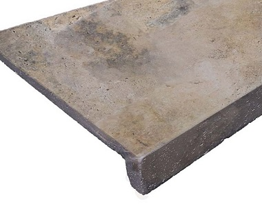 Antique Travertine Drop Face Pool Coping Tile, brown tiles, ochre tiles, yellow tiles, stone pavers australia