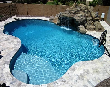 silver travertine bullnose pool coping, silver pool coping tiles, round edge pool coping, stone pavers melbourne