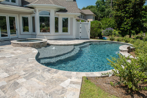 silver travertine french pattern tiles, pool silver tiles by stone pavers australia