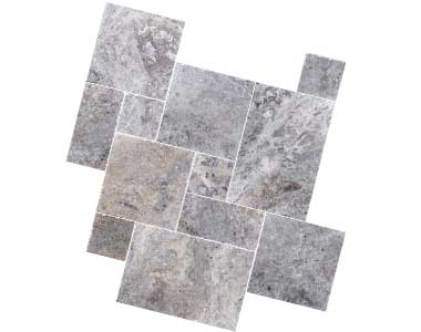 silver travertine french pattern tiles, silver tiles by stone pavers australia