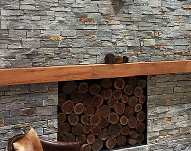 ebony ledgestone fireplace stone wall cladding