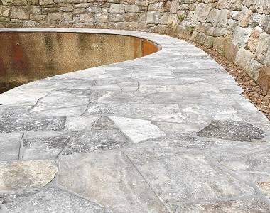 travertine crazy paving silver pool